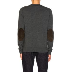 Margiela Wool Sweater with Suede Elbow Patches